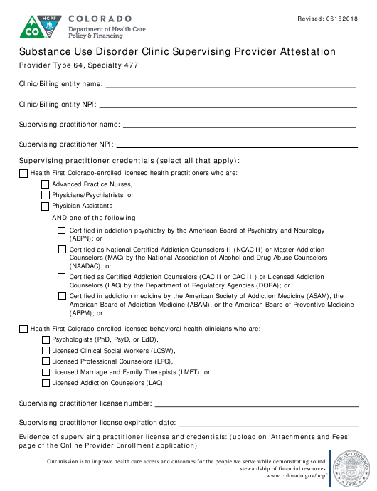 """Substance Use Disorder Clinic Supervising Provider Attestation Form"" - Colorado Download Pdf"