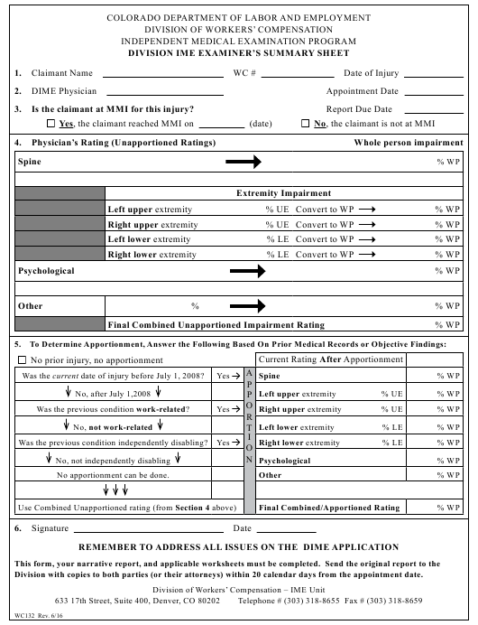 Form WC132  Printable Pdf