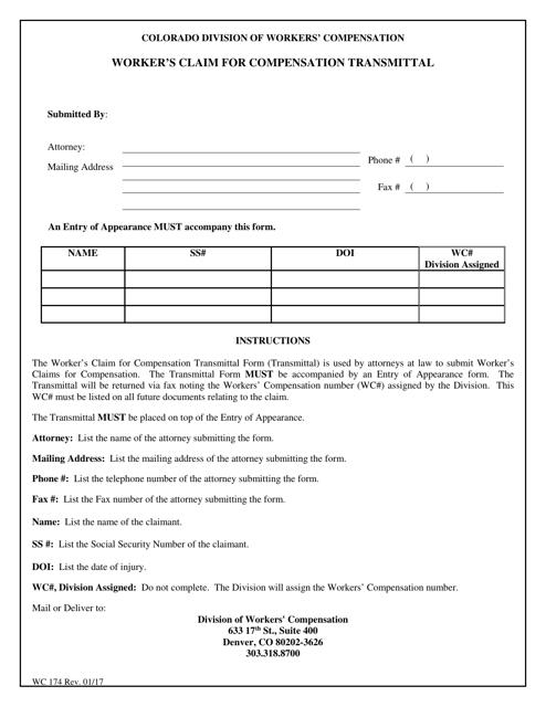 Form WC174  Printable Pdf