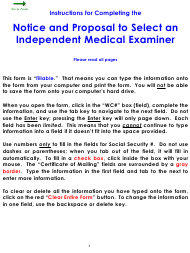 Form WC 146 Notice and Proposal to Select an Independent Medical Examiner - Colorado