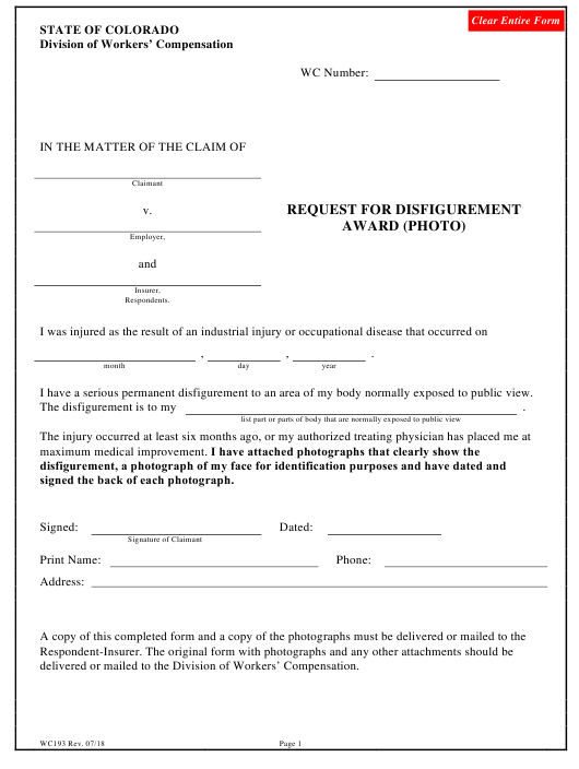 Form WC 193 Fillable Pdf