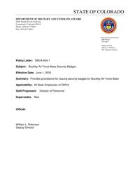 """""""Application for Buckley Identification Card"""" - Colorado"""