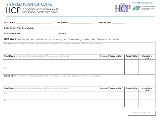 """""""Hcp Shared Plan of Care Form"""" - Colorado Download Pdf"""