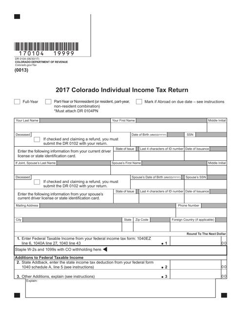 Form DR 0104 Download Fillable PDF 2017, Colorado Individual