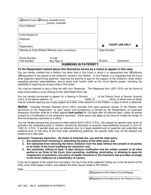 Form JDF1502  Printable Pdf