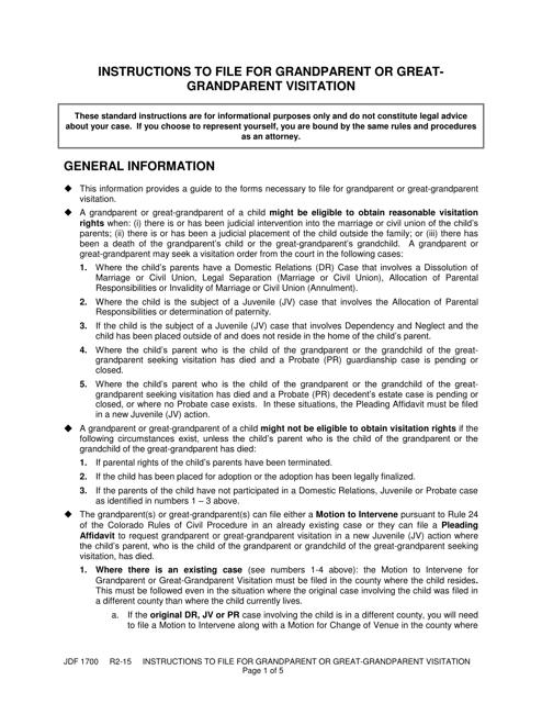 Form JDF1700  Printable Pdf