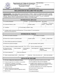 """Formulario WCA-1S """"Declaracion De Reclamo Por Salario"""" - Connecticut (Spanish)"""