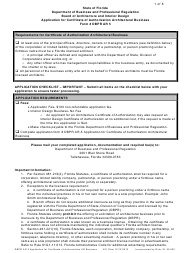 """Form Dbpr Ar5 """"Application for Certificate of Authorization Architectural Business"""" - Florida"""