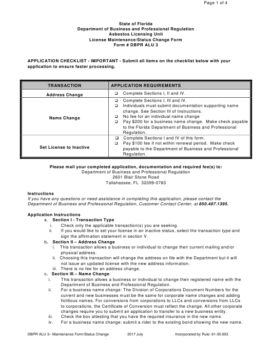 Form DBPR ALU3  Printable Pdf