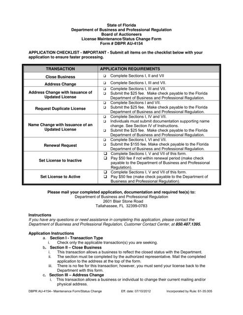 Form DBPR AU-4154  Printable Pdf