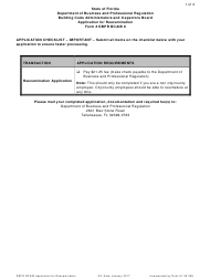 Form DBPR BCAIB 8 Application for Reexamination - Florida