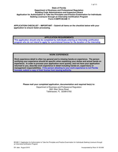 Form DBPR BCAIB11  Printable Pdf
