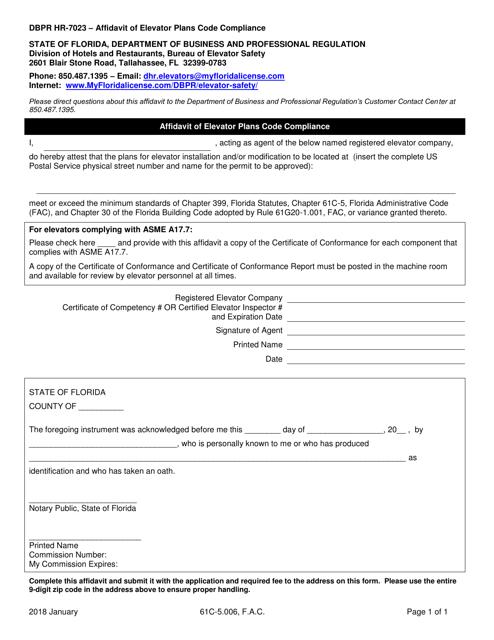 Form DBPR HR-7023  Printable Pdf