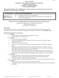 Form DBPR COSMO 6 Application for Salon Licensure - Florida