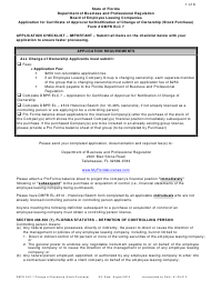 "Form DBPR ELC7 ""Application for Certificate of Approval for/Notification of Change of Ownership (Stock Purchase)"" - Florida"