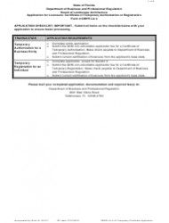 Form DBPR LA 4 Application for Licensure: Certificate of Temporary Authorization or Registration - Florida