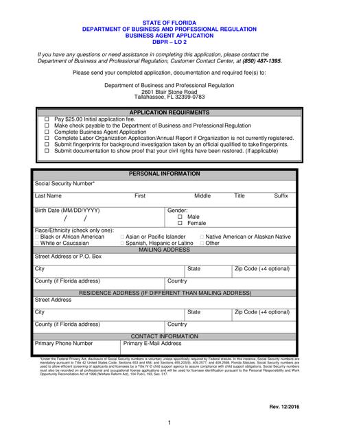 Form DBPR-LO2  Printable Pdf
