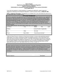 Form DBPR VM 10 Authorization for Interstate Exchange of Examination and Licensure Information - Florida