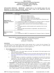 "Form DBPR TA-2 ""Application for Change of Owner or Operator"" - Florida"