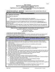 "Form DBPR VM4 ""Limited-Service Veterinary Medical Practice Clinic Registration - Board of Veterinary Medicine"" - Florida"