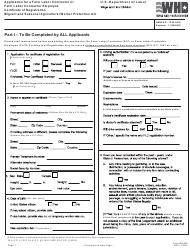 Form WH-530 Application for a Farm Labor Contractor or Farm Labor Contractor Employee