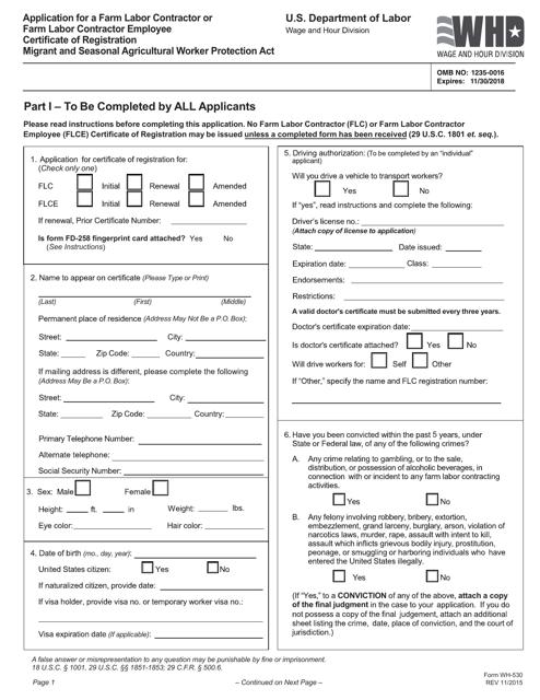 Form WH-530  Printable Pdf