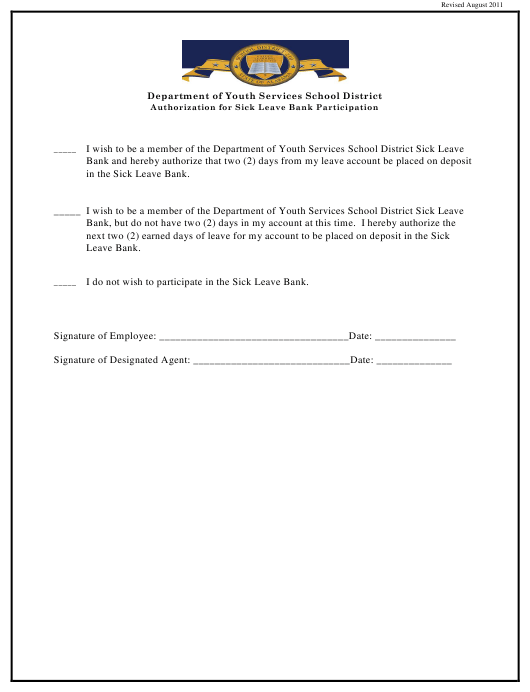 """Authorization for Sick Leave Bank Participation"" - Alabama Download Pdf"