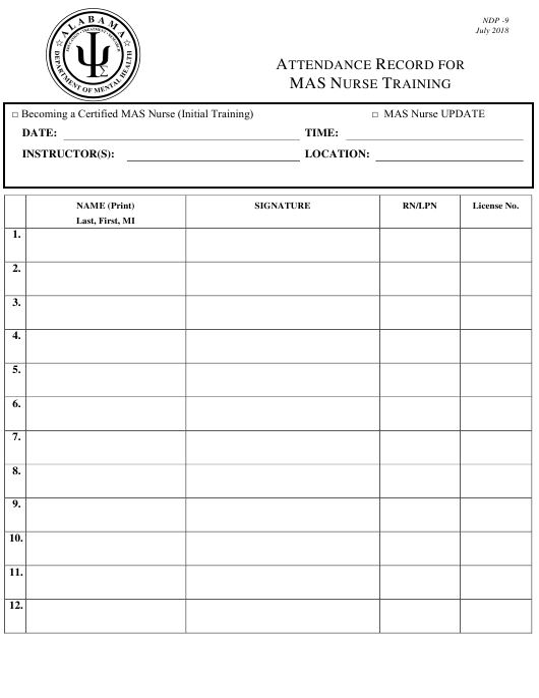 Form NDP9  Printable Pdf