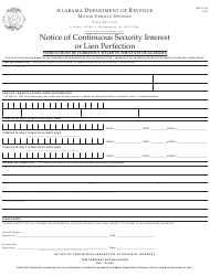 Form MVT 5-64 Notice of Continuous Security Interest or Lien Perfection - Alabama