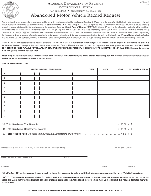 Form MVT32-13  Printable Pdf