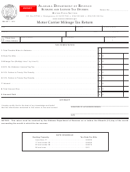 "Form B&L: MT-1 ""Motor Carrier Mileage Tax Return"" - Alabama"