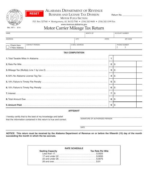 Form B&L: MT-1  Printable Pdf