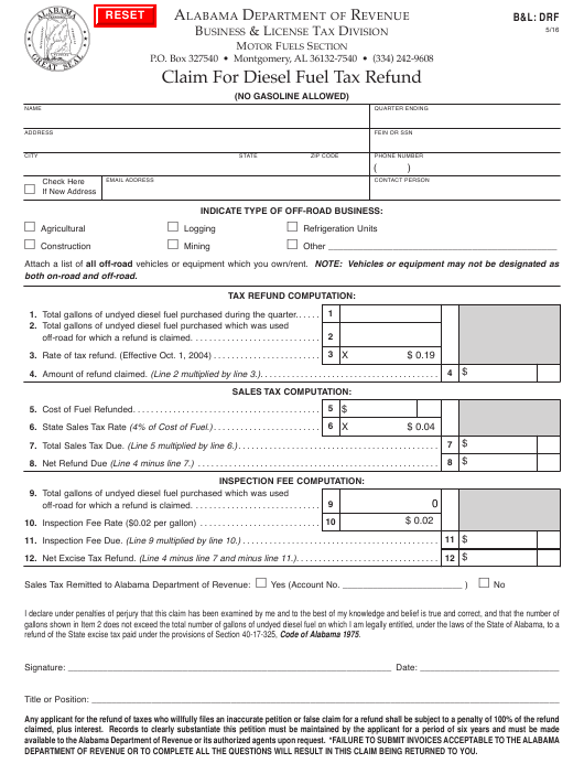 Form B&L:DRF  Printable Pdf