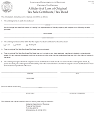 "Form ADV: LD-3 ""Affidavit of Loss of Original Tax Sale Certificate/Tax Deed"" - Alabama"