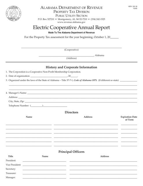 Form ADV: U5-18  Printable Pdf
