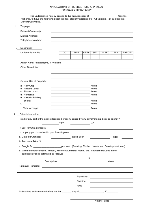 """""""Application for Current Use Appraisal for Class Iii Property"""" - Alabama Download Pdf"""