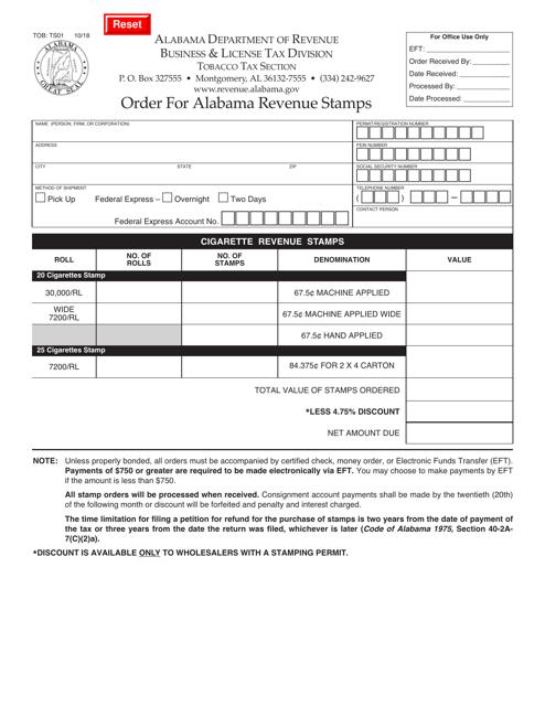 Form TOB: TS01  Printable Pdf