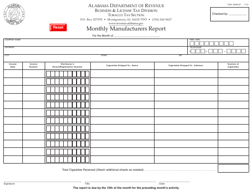 Form TOB: MANUF  Printable Pdf