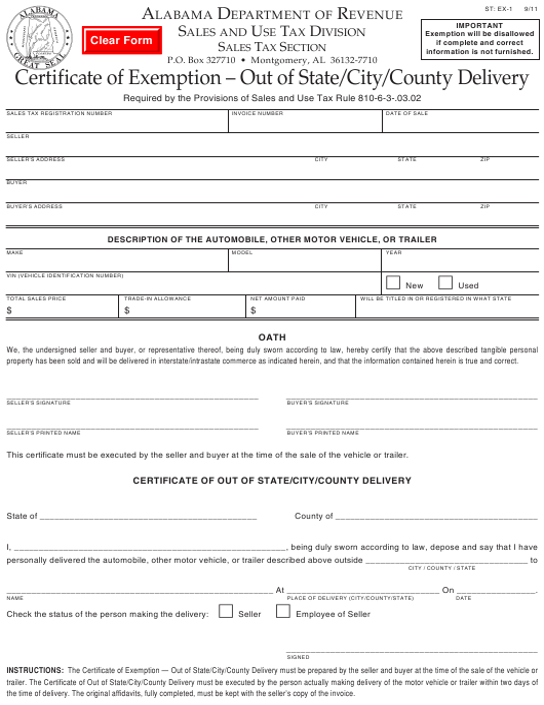 Form ST: EX-1  Printable Pdf