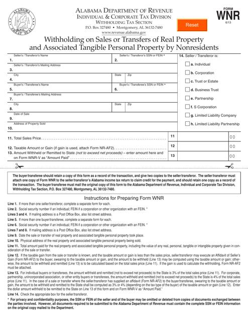 Form WNR  Printable Pdf