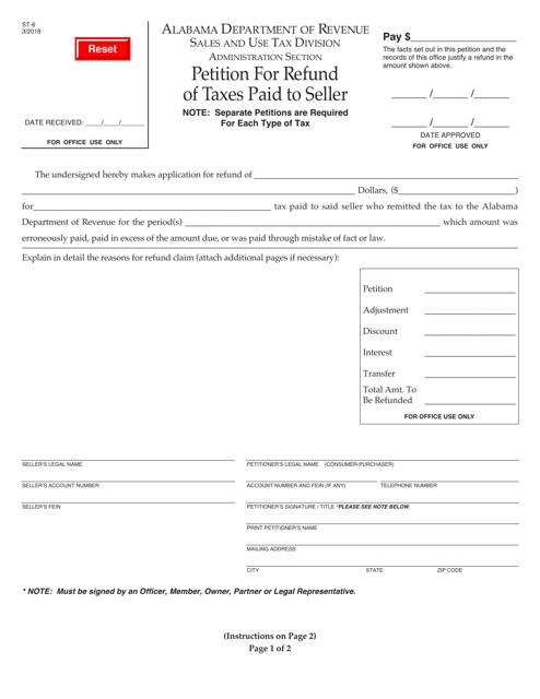 Form ST-6  Printable Pdf