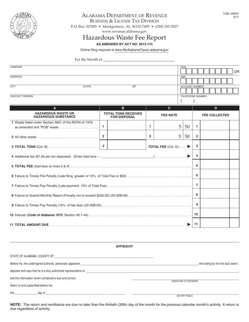 Form TOB: HWST  Printable Pdf