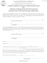 "Form TOB: LLC-AUTH1 ""Limited Liability Company Authorization Form for Alabama Underground and Aboveground Storage Tank Trust Fund Charge Application"" - Alabama"