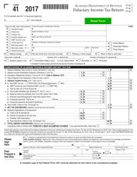 Form 41 2017 Fiduciary Income Tax Return - Alabama