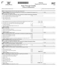 Form 20S 2017 Schedule Pc - Pass-Through Credits - Alabama