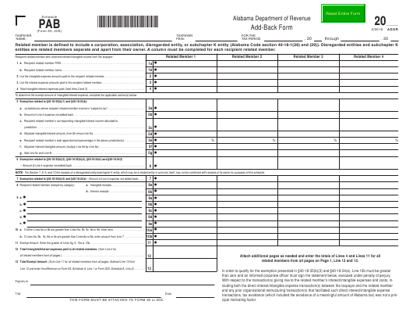 Form 65 (20S) Schedule PAB  Printable Pdf