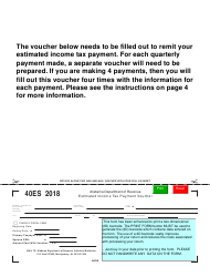 Form 40ES 2018 Estimated Income Tax Payment Voucher - Alabama