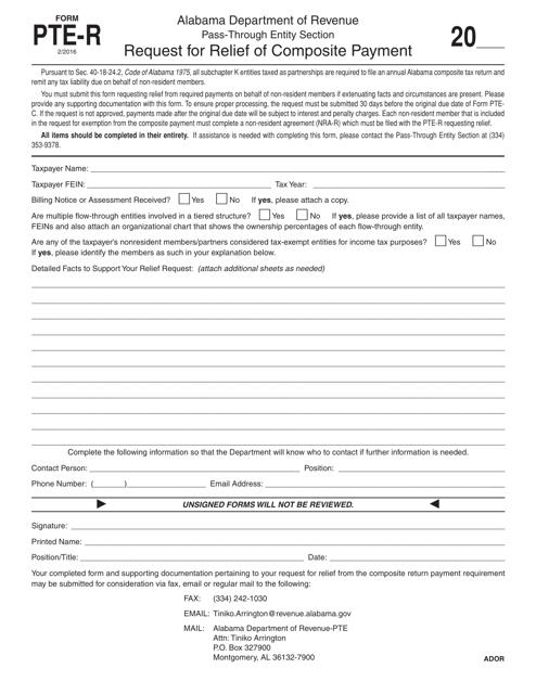 Form PTE-R  Printable Pdf