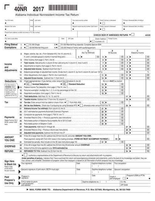 Form 40NR 2017 Printable Pdf