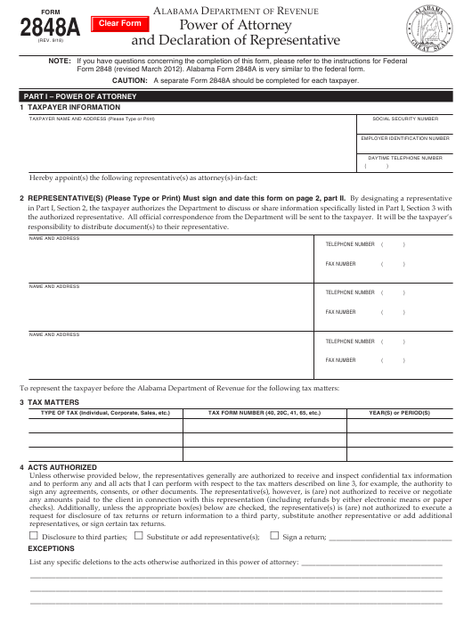 Form 2848A Fillable Pdf